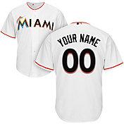 Majestic Men's Custom Cool Base Replica Miami Marlins Home White Jersey