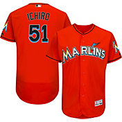 Majestic Men's Authentic Miami Marlins Ichiro Suzuki #51 Alternate Orange Flex Base On-Field Jersey