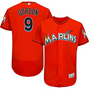 Majestic Men's Authentic Miami Marlins Dee Gordon #9 Alternate Orange Flex Base On-Field Jersey