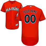 Majestic Men's Custom Authentic Miami Marlins Flex Base Alternate Orange On-Field Jersey