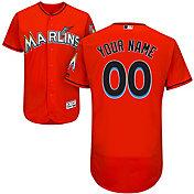 Majestic Men's Custom Authentic Miami Marlins Flex Base Alternate Orange On-Field Jersey