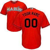 Majestic Men's Custom Cool Base Replica Miami Marlins Alternate Orange Jersey