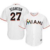 Majestic Men's Replica Miami Marlins Giancarlo Stanton #27 Cool Base Home White Jersey