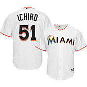 Majestic Men's Replica Miami Marlins Ichiro Suzuki #51 Cool Base Home White Jersey