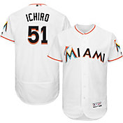 Majestic Men's Authentic Miami Marlins Ichiro Suzuki #51 Home White Flex Base On-Field Jersey