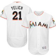 Majestic Men's Authentic Miami Marlins Christian Yelich #21 Home White Flex Base On-Field Jersey