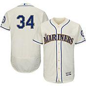 Majestic Men's Authentic Seattle Mariners Felix Hernandez #34 Alternate Ivory Flex Base On-Field Jersey