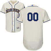 Majestic Men's Custom Authentic Seattle Mariners Flex Base Alternate Ivory On-Field Jersey