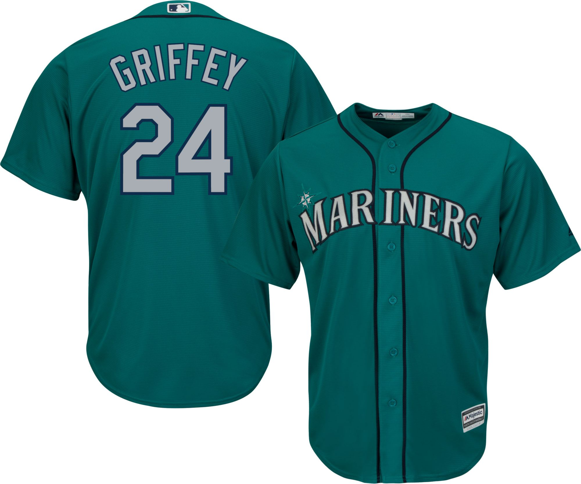 product image · majestic mens replica seattle mariners ken griffey jr. 24 cool base alternate teal