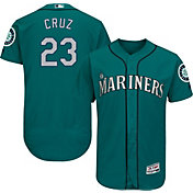 Majestic Men's Authentic Seattle Mariners Nelson Cruz #23 Alternate Teal Flex Base On-Field Jersey