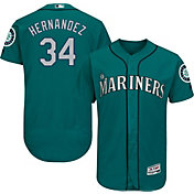 Majestic Men's Authentic Seattle Mariners Felix Hernandez #34 Alternate Teal Flex Base On-Field Jersey