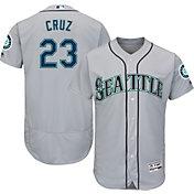 Majestic Men's Authentic Seattle Mariners Nelson Cruz #23 Road Grey Flex Base On-Field Jersey