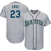 Majestic Men's Authentic Seattle Mariners Nelson Cruz #23 Road Grey Flex Base On-Field Jersey