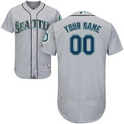 Majestic Men's Custom Authentic Seattle Mariners Flex Base Road Grey On-Field Jersey