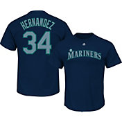 Majestic Triple Peak Men's Seattle Mariners Felix Hernandez Navy T-Shirt