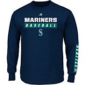 Majestic Men's Seattle Mariners Proven Pastime Navy Long Sleeve Shirt