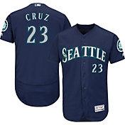 Majestic Men's Authentic Seattle Mariners Nelson Cruz #23 Alternate Navy Flex Base On-Field Jersey