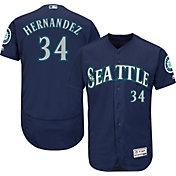 Majestic Men's Authentic Seattle Mariners Felix Hernandez #34 Alternate Navy Flex Base On-Field Jersey