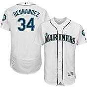 Majestic Men's Authentic Seattle Mariners Felix Hernandez #34 Home White Flex Base On-Field Jersey
