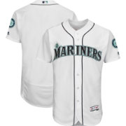 Majestic Men's Authentic Seattle Mariners Home White Flex Base On-Field Jersey