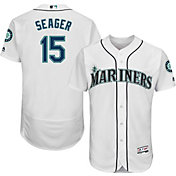 Majestic Men's Authentic Seattle Mariners Kyle Seager #15 Home White Flex Base On-Field Jersey