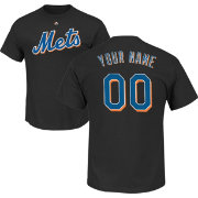 Majestic Men's Custom New York Mets Black T-Shirt