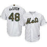 Majestic Men's Replica New York Mets Jacob deGrom #48 2016 Memorial Day Cool Base Home White Jersey