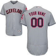Majestic Men's Custom Authentic Cleveland Indians Flex Base Road Grey On-Field Jersey