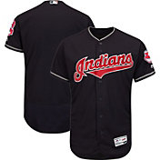 Majestic Men's Authentic Cleveland Indians Alternate Navy Flex Base On-Field Jersey