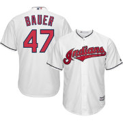Majestic Men's Replica Cleveland Indians Trevor Bauer #47 Cool Base Home White Jersey