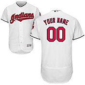 Majestic Men's Custom Authentic Cleveland Indians Flex Base Home White On-Field Jersey