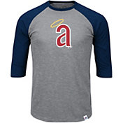 Majestic Men's Los Angeles Angels Cooperstown Grey/Red Raglan Three-Quarter Sleeve Shirt
