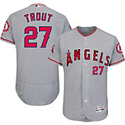Majestic Men's Authentic Los Angeles Angels Mike Trout #27 Road Grey Flex Base On-Field Jersey