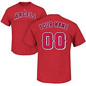 Majestic Men's Custom Los Angeles Angels Red T-Shirt