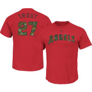 Majestic Men's Los Angeles Angels Mike Trout #27 Memorial Day Red T-Shirt