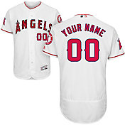 Majestic Men's Custom Authentic Los Angeles Angels Flex Base Home White On-Field Jersey