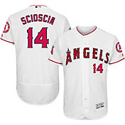 Majestic Men's Authentic Los Angeles Angels Mike Scioscia #14 Home White Flex Base On-Field Jersey
