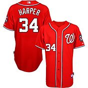 Majestic Men's Authentic Washington Nationals Bryce Harper #34 Cool Base Alternate Red On-Field Jersey