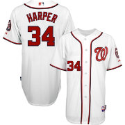 Majestic Men's Authentic Washington Nationals Bryce Harper #34 Cool Base Home White On-Field Jersey