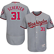 Majestic Men's Authentic Washington Nationals Max Scherzer #31 Road Grey Flex Base On-Field Jersey