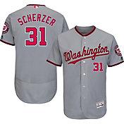 Majestic Men's Authentic Washington Nationals Max Scherzer #31 Road Grey Flex Base On-Field Jersey