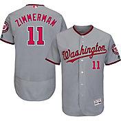 Majestic Men's Authentic Washington Nationals Ryan Zimmerman #11 Road Grey Flex Base On-Field Jersey