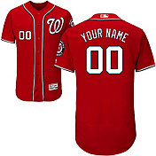 Majestic Men's Custom Authentic Washington Nationals Flex Base Alternate Red On-Field Jersey