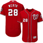 Majestic Men's Authentic Washington Nationals Jayson Werth #28 Alternate Red Flex Base On-Field Jersey