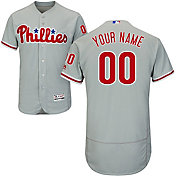 Majestic Men's Custom Authentic Philadelphia Phillies Flex Base Road Grey On-Field Jersey
