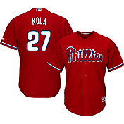 Majestic Men's Replica Philadelphia Phillies Aaron Nola #27 Cool Base Alternate Red Jersey