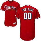 Majestic Men's Custom Authentic Philadelphia Phillies Flex Base Alternate Red On-Field Jersey