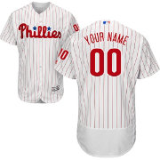 Majestic Men's Custom Authentic Philadelphia Phillies Flex Base Home White On-Field Jersey