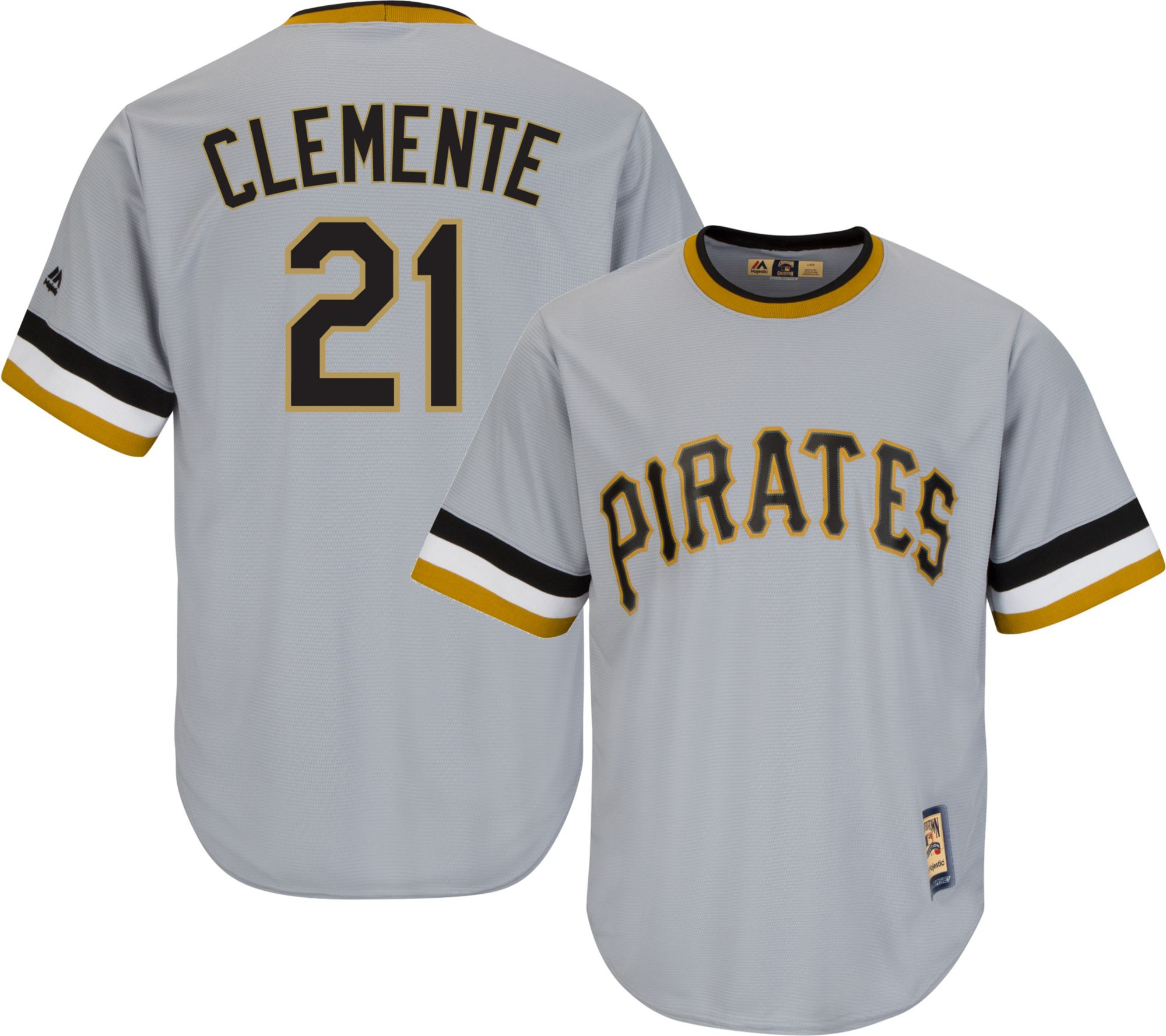 majestic mens replica pittsburgh pirates roberto clemente cool base grey cooperstown jersey dicks sp