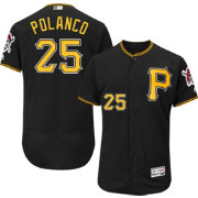 Majestic Men's Authentic Pittsburgh Pirates Gregory Polanco #25 Alternate Black Flex Base On-Field Jersey